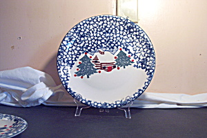 Tienshan Christmas Dishes Cabin In Woods Salad Plate