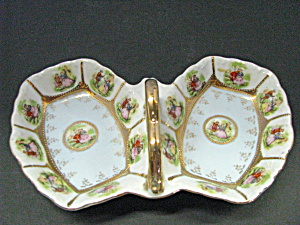 Vintage Colonial Couple Double Relish Dish