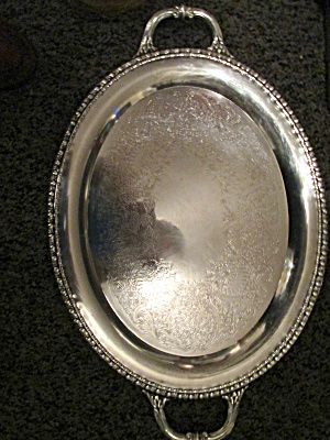 Vintage Rogers & Sons Silver Plated Oval Serving Tray