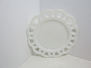 Anchor Hoching Milk Glass Lace Edge Round Snack Plate