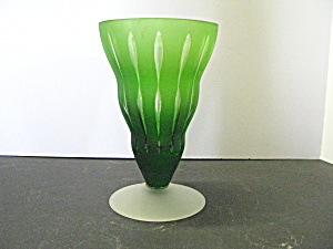 Vintage Art Glass Green Frosted Foot Vase