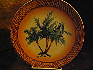 Art Decor Tropical Oasis Brown Palm Tree Plate