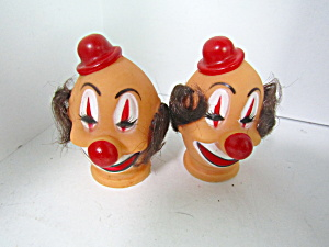 Vintage Clown Doll Heads Red Hat Brown Hair