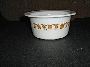 Vintage Pyrex Butterfly Gold Round Butter Tub
