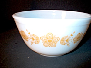 Vintage Pyrex Small Mixing Bowl Butterfly Gold