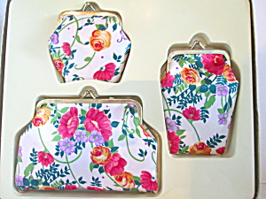 Vintage Floral Cosmetic Bag Purse Set