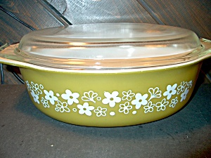 Pyrex Covered Casserole Spring Blossom Green