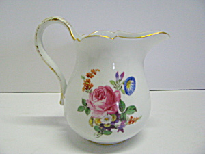 Dresden Porcelain Hand Painted Floral Cream Pitcher