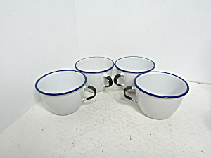 Vintage White Enamel Ware Black & White Cup Set