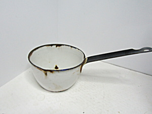 Vintage Enamelware White & Black Short Handle Dipper