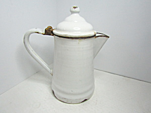 Vintage Enamelware White & Black Coffee Pot
