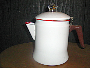 Vintage Enamelware White/red Trim Coffee Pot