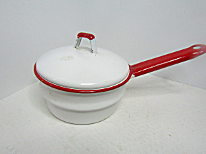 Vintage Enamelware White/red Double Boiler Top & Cover