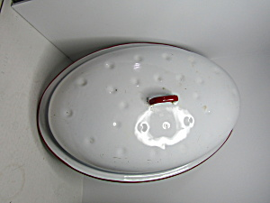 Vintage Falcon Enamelware White/red Roaster Cover