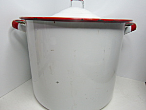 Vintage Enamelware White/red Lagre Stock Pot
