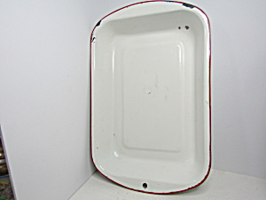 Vintage Enamelware White/red Cake Pan/roaster