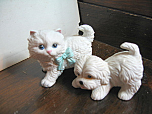 Vintage Homco Persian Kitten & Puppy Figurines