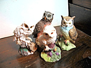 Four Resin/porcelain Mini Owl Figurines
