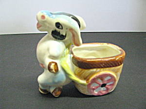 Vintage Donkey & Cart Ceramic Flower Planter