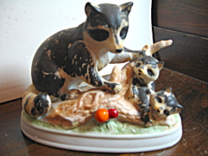 Vintage Porcelain Raccoon Family Figurine