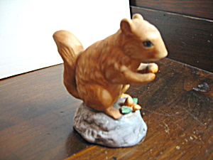Vintage Figurine Sitting Squirrel Holding Nut