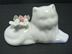Vintage White Porcelain Persian Cat Figurine