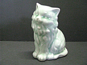 Vintage Blueish Porcelain Persian Cat Figurine