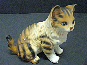 Vintage Porcelain Lefton Tiger/tabby Cat Figurine