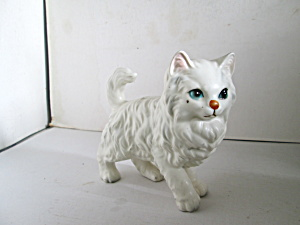 Vintage Fluffy White Persian Cat Figurine