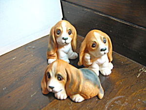 Three Vintage Homco Basset Hound Pup Figurines
