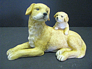 Porcelain Golden Labrador Retriever Mom And Pup