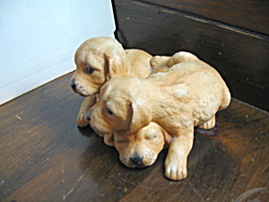 Vintage Masterpiece Porcelain Golden Retriever Pups
