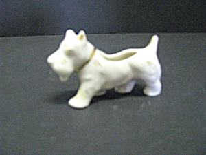 Porcelain Figurine White & Gold Schnauzer Dog