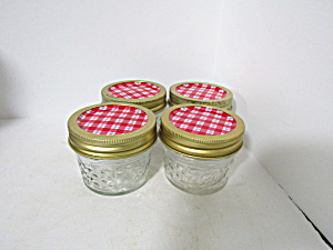 Vintage Ball Quilted Crystal Small Jelly Jars