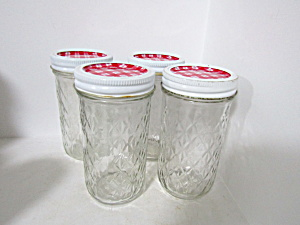 Vintage Ball Quilted Crystal Tall Jelly Jars