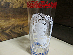 Vintage Abe Lincoln Red,white & Blue Drinking Glass