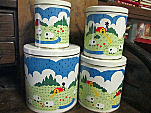 Vintage Country Sheep Farm Canister Set