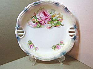 Vintage Pk Silesia Lusterware Floral Cake/serving Plate