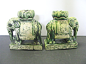 Vintage Sage Green Elephant Candle Holders