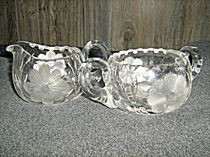 Etched Open Suger & Creamer
