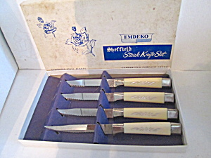 Vintage Sheffield Emdeko Steak Knife Set