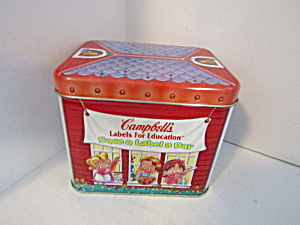 Campbells Schoolhouse Save-a-label Tin