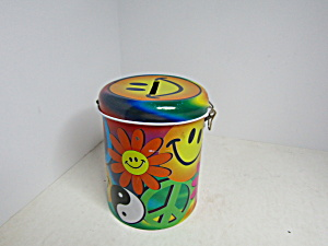 Colorful Happy Face & Floral Tin Bank