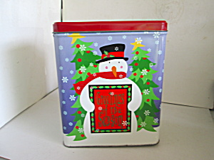 Snowman Tin Canister Greetings Of The Season