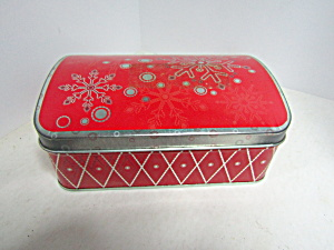 Vintage Red Snowflake Hinged Tin
