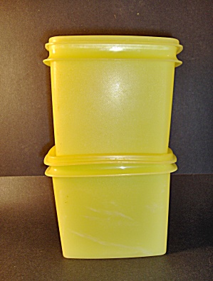 Vintage Tupperware Yellow Rectangle Storage Containers