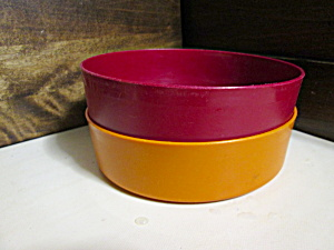 Vintage Tupperware Round Orange & Red Cereal Bowls