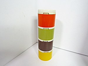 Vintage Tupperware Autumn Harvest Round Spice Tower