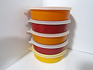 Vintage Tupperware Round Wonder Harvest Colored Bowls