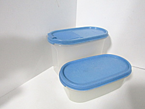 Vintage Tupperware Two Blue Modular Mate Space Saver
